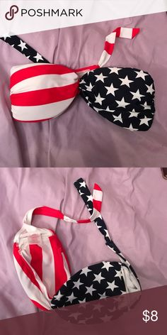Strapless America Bikini Top 👙 perfectly patriotic! i do not have the straps that come with this. you can wear this as a bandeau under a tank as well 🇺🇸 Xhilaration Swim Bikinis