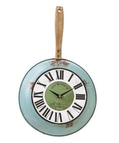 This is from zulily but I am not a fan of the roman numerals on this- makes it too fancy. Could totally DIY with a clock kit from amazon and a old frying pan and maybe paint on the numbers with a stencil or use self adhesive ones. Must try for the kitchen!
