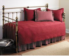 Taking a nap in daybed is a quality time to recharge your energy during hard workday. Stockton 5-piece daybed bedding is a solution for you who wants to refresh your stamina and enhance the work performance afterwards. Bring a warm and cozy look to your bedroom with the Southern Textiles Stockton Ensemble 5 Piece Daybed Set. Sporting gorgeous designs in rustic colours, this bed set will look great