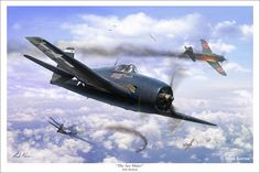 The Ace Maker. My painting of the F6F Hellcat during World War 2. This machine is painted in the markings of David McCamplbell who was the Navy's all time leading ace with 34 enemy aircraft shot down.
