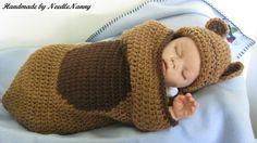 Crochet Baby Bear Cocoon Cuddle Sack Teddy Bear Hat by NeedleNanny, $30.00