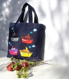 Shoppers market tote bag Eco friendly  blue Jute tote by Apopsis, $60.00