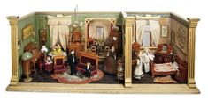 Home At Last - Antique Doll and Dollhouses: 293 German Wooden Richly-Furnished Dollhouse Rooms with Sun Porch Alcove