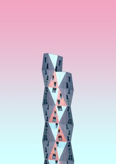 Stunning architecture photos of pastel coloured modern architecture in Rotterdam, Netherlands by Simone Hutsch aka heysupersimi. Latest Hd Wallpapers, Live Wallpapers, Phone Wallpapers, Sci Fi City, Building Painting, Building Sketch, Panoramic Photography, Pink Photo, Architecture Photo