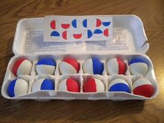 Via http://TheOTsBag.com Ping Pong Ball Match. Have children place the ping pong balls in the carton to copy the pattern. Skills promoted: 1. visual scanning (encourage left to right as in reading); 2. directionality; 3. visual discrimination; 4. following a pattern