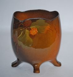Owens Pottery Utopian Standard Glaze Footed Pillow Vase (Artist Signed) from Just Art Pottery