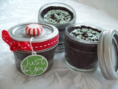 Tons of gifts in jars. Food, pies, mixes, misc. Salted Caramel sauce and Mini Grasshopper Pies in a Jar