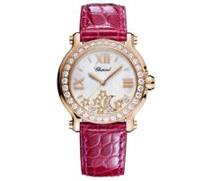 Chopard's My Happy Sport Bespoke Passion watch with pink alligator strap.