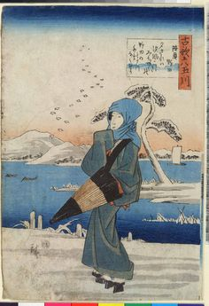 "Hiroshige:  ""Tamagawa six old song""  ---lady with furled umbrella on snowy day #Hiroshige"