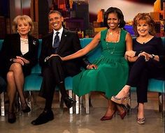 Barack Obama: Michelle And Barack Obama 8X10 Photo The View With Barbara Walters Joy Behar H399 BUY IT NOW ONLY: $2.99