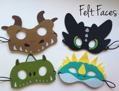 One set of 4 How to Train a Dragon party masks, one of each style shown in the photo. Each mask is made with premium felt, and has a black elastic band sewn to each side of the back. These adorable pa