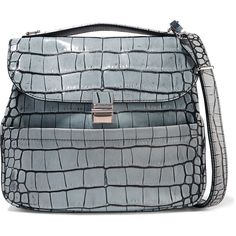 Proenza Schouler - Kent Croc-effect Leather Shoulder Bag (3,515 SAR) ❤ liked on Polyvore featuring bags, handbags, shoulder bags, grey, grey shoulder bag, shoulder handbags, gray purse, leather purses and gray handbags