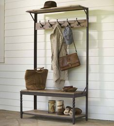 Plow & Hearth Deep Creek Coat Rack Hall Tree with Bench Seat and Five Hanger Hooks with Reclaimed Rustic Wood Surfaces and Metal Frame with Twisted Accents Wood Storage Bench, Storage Shelves, Storage Spaces, Shoe Storage, Sas Entree, Coat Rack With Storage, Entryway Hall Tree, Rustic Coat Rack, Wood Surface