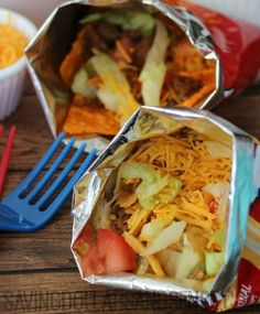 Walking tacos -- the ideal lunch for busy families.