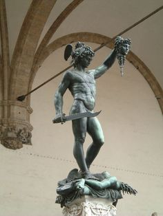 Benvenuto Cellini, Perseus With the Head of the Medusa (1545-1554)  This renaissance sculpture by Benvenuto Cellini depicts a mythological scene of Perseus chopping off the head of Medusa. As we can see in the sculpture Perseus is...