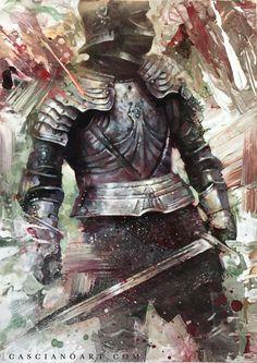 Fan of epic fantasy art! & HeavyMetal — Chris Casciano art & Thy Majestie Fantasy Armor, Dark Fantasy, Lord Of War, Knight Art, Game Of Thrones Art, Fire Art, Art Thou, Medieval Knight, Skyfall