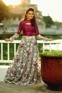 Colors & Crafts Boutique™ offers unique apparel and jewelry to women who value versatility, style and comfort. We specialize in customized attires crafted in h Long Gown Dress, Lehnga Dress, Lehenga Blouse, Lehenga Designs, Half Saree Designs, Indian Designer Outfits, Indian Outfits, Designer Dresses, Dress Neck Designs
