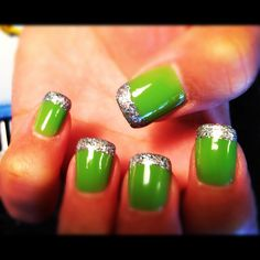 Green, glitter tip acrylic nails :)