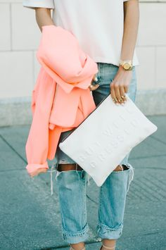 Distressed denim and feminine pink jacket