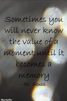 """""""Sometimes you will never know the value of a moment until it becomes a memory."""" –Dr. Seuss"""