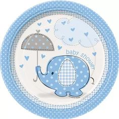 "7"" Blue Elephant Baby Shower Dessert Plates, 8pk"