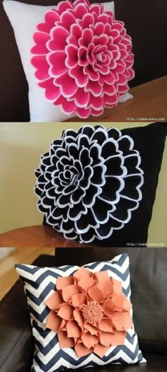 Cómo hacer flores de fieltro para decorar un cojín Cómo hacer flores de fieltro para decorar tu hogar Cute Pillows, Diy Pillows, Decorative Pillows, Throw Pillows, Felt Flowers, Fabric Flowers, Paper Flowers, Felt Crafts, Diy And Crafts