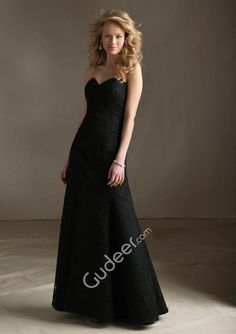 Strapless Sweetheart Black Lace Overlay Grape Lining Long Bridesmaid Dress