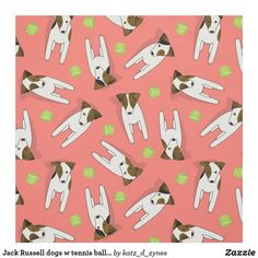 Jack Russell w tennis balls - choose ANY color background Jack Russell Dogs, Coral Background, Gift Wrapping Supplies, Consumer Products, Fabric Patterns, Custom Fabric, Crafts To Make, Fabric Crafts