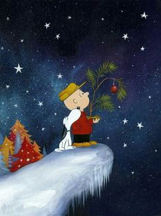 Snoopy and Charlie Brown looking for the christmas star