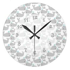 Gray Whale Nursery Wallclock