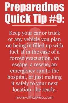 Preparednes Quick Tip #9: Keep your car full of gas  {Mom with a Prep}