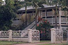 Queenslander House, Townsville Queenslander House, Weatherboard House, Front Fence, Australian Homes, Gate Design, Aragon, Old Houses, Gates, Cottages