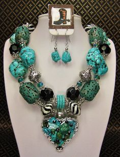 Western Style chunky turquoise necklace
