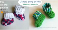 Newborn Crochet Patterns The Galaxy Baby Booties featuring the star stitch were designed to match the Galaxy Beanie and t… Crochet Baby Booties Tutorial, Baby Booties Free Pattern, Newborn Crochet Patterns, Crochet Baby Boots, Booties Crochet, Cute Crochet, Baby Patterns, Crochet Ideas, Crochet Shoes