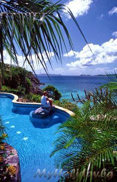 Pools in Peter Island of British Virgin Islands, Caribbean
