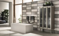 Open Workshop industrial style bathroom by Scavolini and Diesel Living featuring a large display cabinet Bathroom Interior Design, Bathroom Styling, Bathroom Storage, Small Bathroom, Master Bathroom, Bathrooms, Modern Bathroom, Bathroom Accessories Luxury, Door Displays