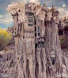 This is something like how I envisaged Garuga, with buildings carved out of the cliff face.