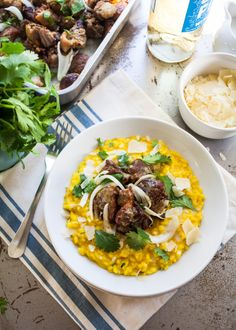 Saffron and Coconut Milk Risotto with Crispy Pork Nuggets