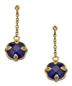$98 SKU Gold CZ and Lapis Drop Earrings #maxandchloe