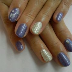 purple and sparkle winter nails