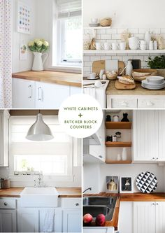 White cabinets + Butcher block   At Home in Love