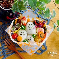 ハロウィンおばけちゃん弁当♡   かわいいおべんとう。