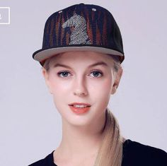 Splice mesh horse snapback cap for women uv protection baseball caps