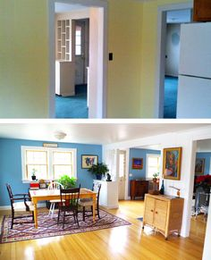View from the kitchen before and after renovation - Plaster & Disaster