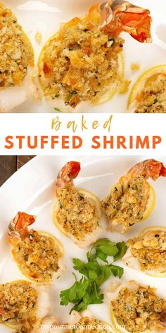 Baked stuffed shrimp is a time-tested New England restaurant dish that's easy to make at home. It's a great choice for a special occasion, easy to prepare, and once the stuffing is made, only takes about 15 minutes to cook. Shellfish Recipes, Shrimp Recipes, Appetizer Recipes, Shrimp Appetizers, Baked Stuffed Shrimp, Baked Shrimp, Gourmet Recipes, Cooking Recipes, Healthy Recipes