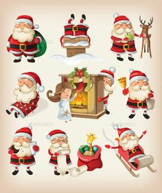Set of Santa Claus at Christmas — Vector EPS #new year #situation • Available here → https://graphicriver.net/item/set-of-santa-claus-at-christmas/9471793?ref=pxcr