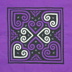 Hmong Flower Cloth - Purple Hearts, Tammachat /// TAFA Market, Purple Collection: http://www.tafaforum.com/market/tafa-market-colors/