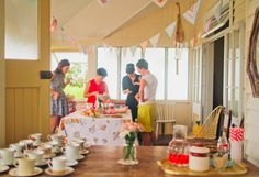 At-home bridal shower. This is a baby shower, but I'm really digging the low-key tea party thing.