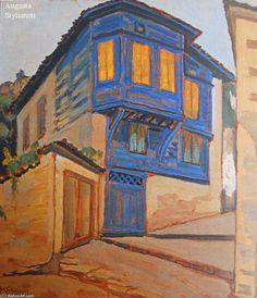 Konstantinos Maleas - House In Mytiliene Painter Artist, Artist Painting, Modern Art, Contemporary Art, Greece Painting, Mediterranean Art, Greek Blue, Blues Artists, Street Art