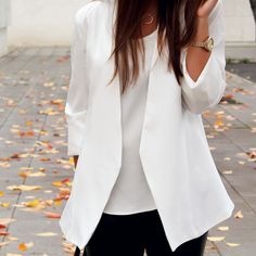 white blazer + leather pants + golden watch and necklace
